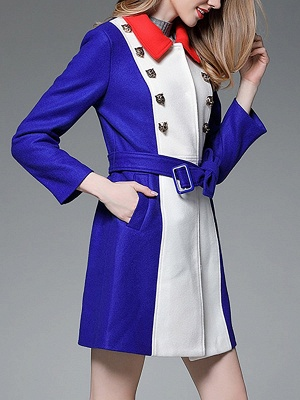 Royal blue Solid Buttoned Pockets Color-block Coat_4