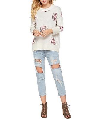 Long Sleeve Printed Casual Sweater_2