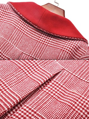 Burgundy Balloon Sleeve Buttoned Houndstooth Coat_7