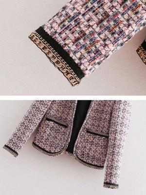 Pink Casual Shift Crew Neck Long Sleeve Paneled Pockets Coat_6