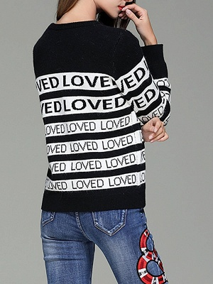 Casual Long Sleeve Letter Sweater_2
