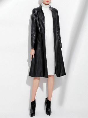 Black Long Sleeve Buttoned Casual Leather Solid Coat_5