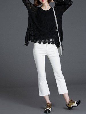 Crocheted Daily Casual Knitted Shift Sweater_12