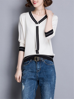 Casual Intarsia Shift Ice Yarn Knitted Simple Sweater_1