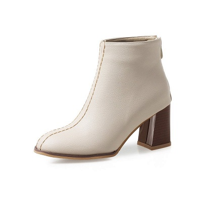 Chunky Heel PU Zipper Daily Pointed Toe Boots_2
