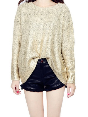 Shimmer Crew Neck Casual Long Sleeve Solid Sweater_1