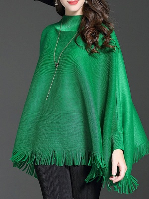 Fringed Batwing Casual Stand Collar Coat_4