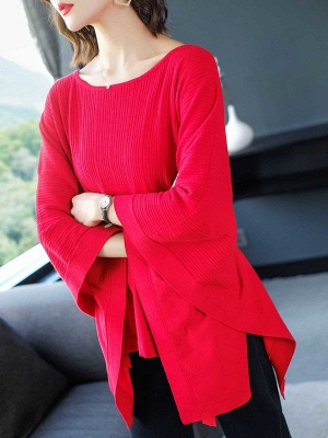 Batwing Solid Knot Front Casual Sweater_1