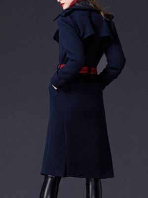 Dark blue Shift Long Sleeve Casual Pockets Paneled Coat_3