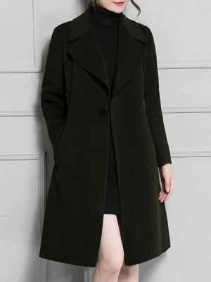 Casual Long Sleeve Lapel Solid Pockets Buttoned Coat_13