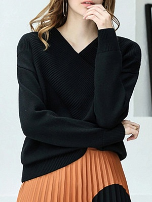 Long Sleeve Shift Casual V neck Solid Sweaters_5