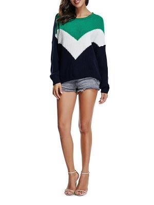 Green Crew Neck Casual Sweater_4