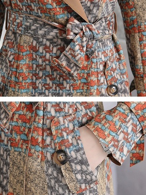 Multicolor Long Sleeve Lapel Buttoned Pockets Printed Paneled Coat_7
