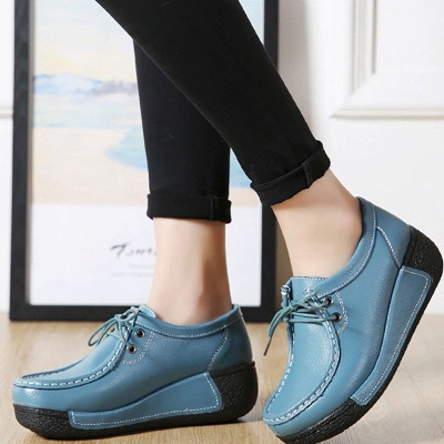 Wedge Heel Daily Lace-up Round Toe Loafers_10