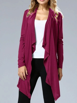 Casual Long Sleeve Solid Asymmetrical Summer Coat_1