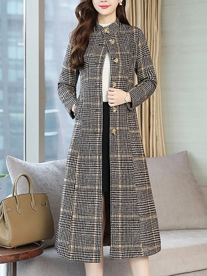 Gray Checkered/plaid Buttoned Work Stand Collar Coats_1