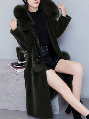 Buttoned Hoodie Fluffy Pockets  Paneled Coat_10