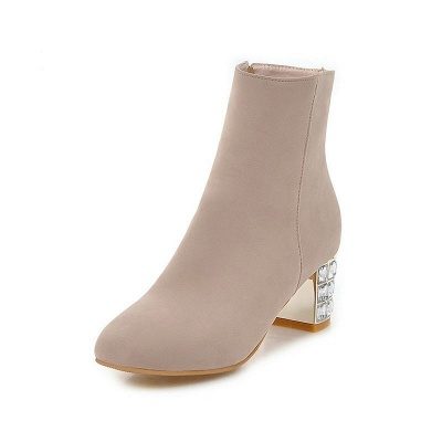Chunky Heel Zipper Daily Pointed Toe Elegant Boots_2