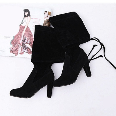 Lace-up Daily Suede Chunky Heel Round Toe Boot_6