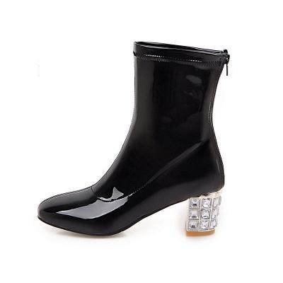 Chunky Heel Zipper Elegant Square Toe Boots_13