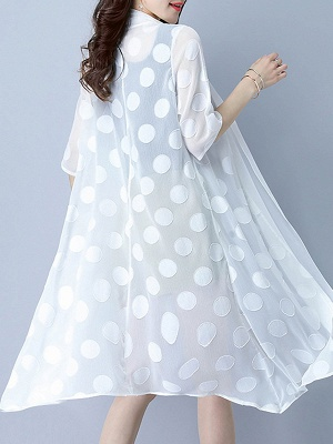 Chiffon Polka Dots Print Sunscreen Coat_6