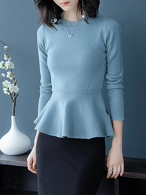 Ruffled Solid Long Sleeve Crew Neck Casual Sweater_3