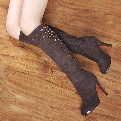 Women's Boots Stiletto Heel Flower Pointed Toe Elegant Black Boots_1