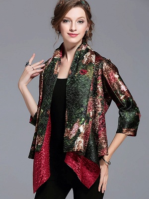 Green Printed Asymmetrical Vintage Reversible Crinkled Coat_5