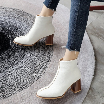 Chunky Heel PU Zipper Daily Pointed Toe Boots_5