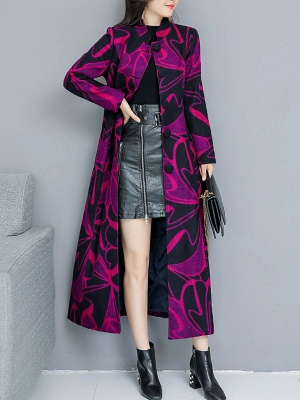 Rose Shift Casual Long Sleeve Printed Stand Collar Coat_8