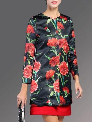 Buttoned Long Sleeve Floral Work Elegant Coat_2