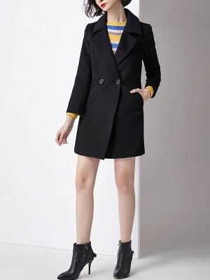Work Buttoned Lapel Long Sleeve Pockets Coat_6