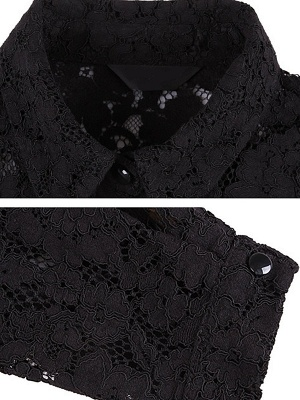 Paneled Long Sleeve Floral Casual Lace Coat_8