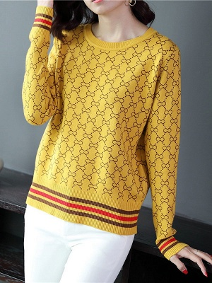 Casual Long Sleeve Geometric Printed Shift Sweater_3