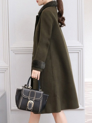 Casual Buttoned Long Sleeve Shirt Collar A-line Pockets Fluffy  Coat_6