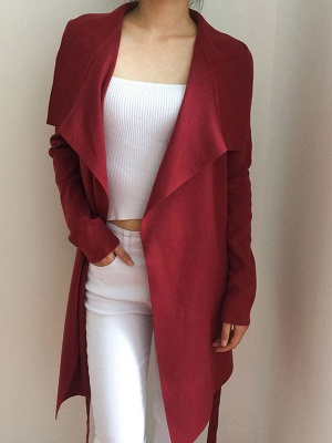 Casual Long Sleeve Solid Coat_1