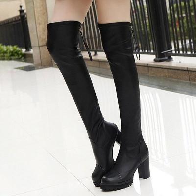 Black Fall Chunky Heel Zipper PU Boots_1