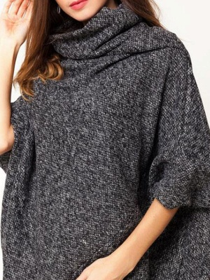 Casual Batwing Solid Sweater_6