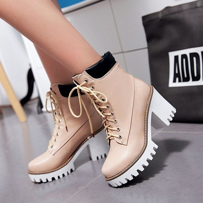 Daily Lace-up PU Round Toe Chunky Heel Boots_1