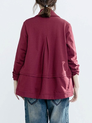 Solid Long Sleeve Casual Paneled V-Neck Coat_4