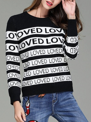 Casual Long Sleeve Letter Sweater_7