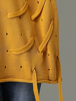 Lace Up Long Sleeve Solid Crew Neck Casual Sweater_6