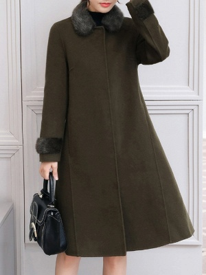 Casual Buttoned Long Sleeve Shirt Collar A-line Pockets Fluffy  Coat_4