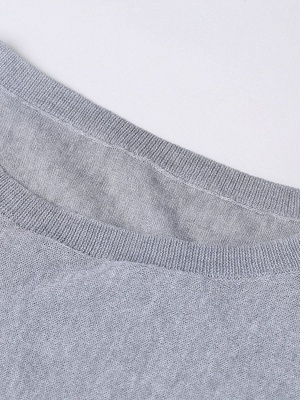 Solid Batwing Casual Knitted Crew Neck Sweater_16