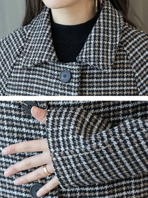 Black Houndstooth Casual Coat_5