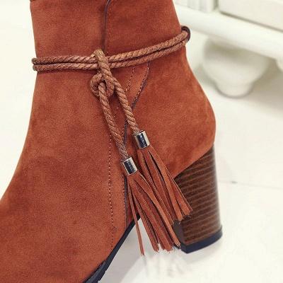 Chunky Heel Daily Tassel Zipper Elegant Boots_10