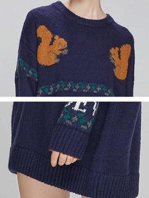 Dark blue Crew Neck Long Sleeve Casual Sweater_5