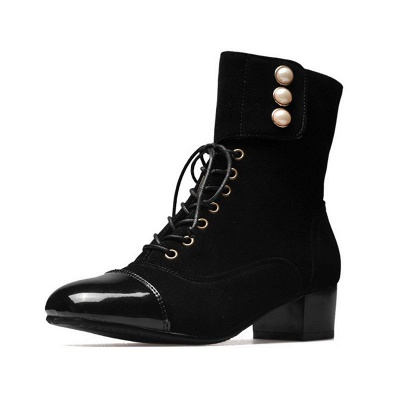 Rivet Chunky Heel Daily Square Toe Boots_1
