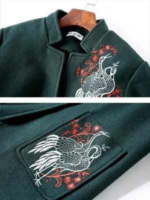 Dark Green Animal V neck Long Sleeve Coat_4