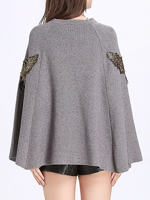 Elegant Plain Cape Sleeve Sweater_4